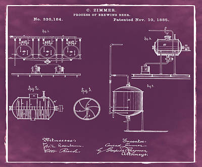 Process Of Brewing Patent 1885 In Red Art Print by Bill Cannon
