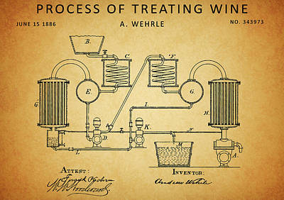 Drawing - Process Of Treating Wine by Dan Sproul