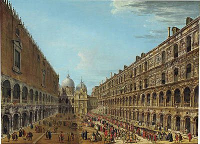 Painting - Procession In The Courtyard Of The Ducal Palace, Venice by Antonio Joli