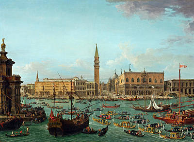 Painting - Procession Of Gondolas In The Bacino Di San Marco, Venice by Antonio Joli