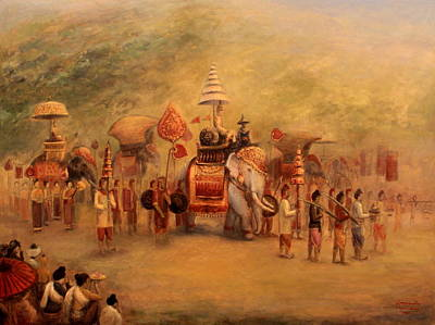 Laos Painting - Procession Of The King by Sompaseuth Chounlamany
