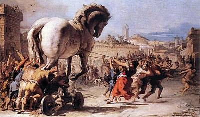 Painting - Procession Of The Trojan Horse  by Giovanni Tiepolo