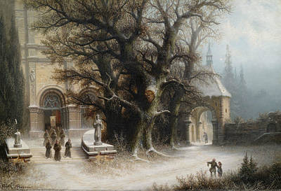 Painting - Procession On A Snowy Monastery Complex by Albert Bredow