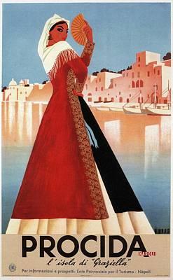 Mixed Media - Procida, Coast Of Naples, Italy - Retro Travel Poster - Vintage Poster by Studio Grafiikka