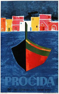 Royalty-Free and Rights-Managed Images - Procida - Naples, Italy - Boat - Retro travel Poster - Vintage Poster by Studio Grafiikka