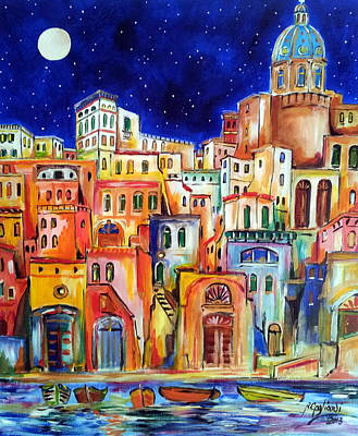 Procida Under The Moon Art Print