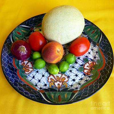 Photograph - Produce On Talavera Plate by Barbie Corbett-Newmin