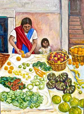 Broccoli Painting - Produce To Sell, Mexico by Mary Villanueva-Tuomy