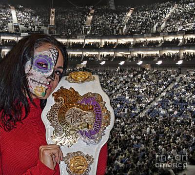 Championship Ring Digital Art - Professional Wrestling Champion Thunder Rosa by Jim Fitzpatrick