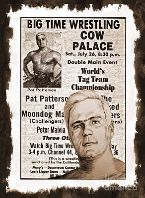 Drawing - Professional Wrestling Legend Pat Patterson  by Jim Fitzpatrick