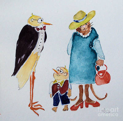 Painting - Professor Bird And Family by Diane Ursin