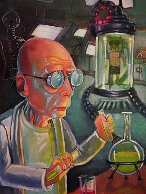 Character Portraits Painting - Professor Farnsworth by DaMarco Randle