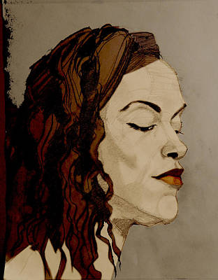 Painting - Portrait Drawing Of A Redhead In Profile by Greta Corens