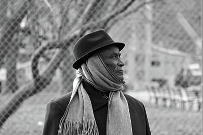 Photograph - Profile Of A Man Wearing A Hat And A Scarf -- 2 by Cora Wandel