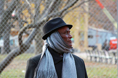 Photograph - Profile Of A Man Wearing A Hat And A Scarf by Cora Wandel