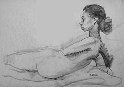 Drawing - Profile Of Semi-reclining Pose by Robert Holden