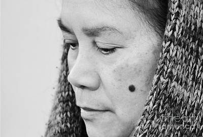 Cheek Photograph - Profile Portrait Of A Filipina With A Mole On Her Cheek And Wearing A Scarf  by Jim Fitzpatrick