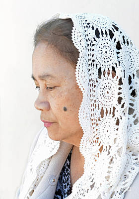 Photograph - Profile Portrait Of A Filipina Woman Wearing A Veil And Deep In Thought II by Jim Fitzpatrick
