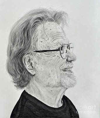 Musicians Drawings Rights Managed Images - Profile Portrait of Kris Kristofferson Royalty-Free Image by Jim Fitzpatrick
