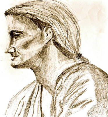 Contemplative Drawing - Profile Sketch Of Man With Ponytail by Laura Ogrodnik