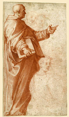 Drawing - Profile Study Of A Standing Saint Holding A Book With Subsidiary Studies Of Three Additional Figures by Baccio Bandinelli