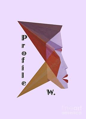Painting - Profile W. Text by Michael Bellon