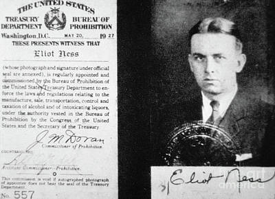 Booze Photograph - Prohibition Agent Id Card Of Eliot Ness by American School