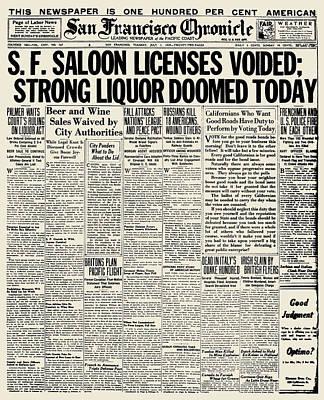 Photograph - Prohibition Headline, 1919 by Granger