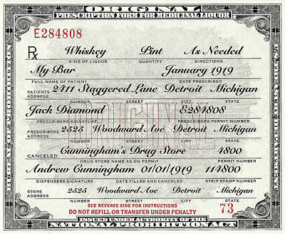 Photograph - Prohibition Prescription Certificate My Bar, by David Patterson