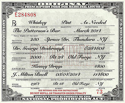 Photograph - Prohibition Prescription Certificate Personalized by David Patterson