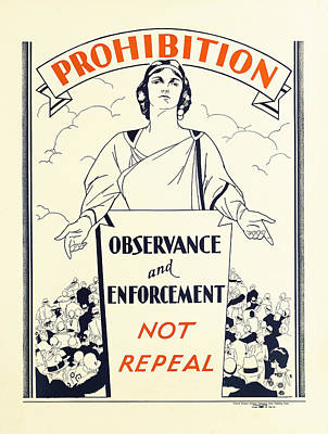 Prohibition Temperance Poster C. 1925 Art Print by Daniel Hagerman