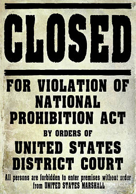 Prohibition Violation Posting Art Print