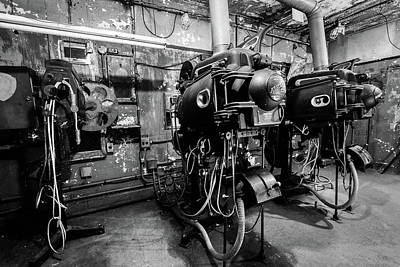 Photograph - Projection Room In Black And White by Michael Porchik