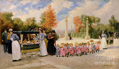 Stroller Painting - Promenade Des Enfants  by Timoleon Marie Lobrichon