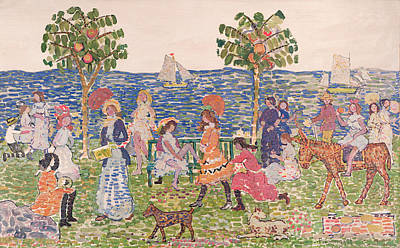 Maurice Painting - Promenade by Maurice Brazil Prendergast