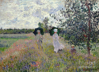 Meadow Painting - Promenade Near Argenteuil by Claude Monet