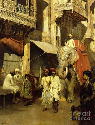 Colonial Troops Painting - Promenade On An Indian Street by Edwin Lord Weeks