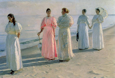 Women On Beach Wall Art - Painting - Promenade On The Beach by Michael Peter Ancher