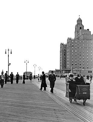 Photograph - Promenading On The Boardwalk by Underwood Archives