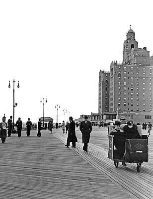 Promenading On The Boardwalk Art Print by Underwood Archives