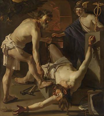 Vulcan Painting - Prometheus Being Chained By Vulcan by Dirck Van Baburen