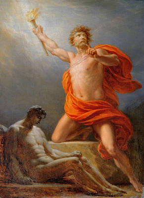 Prometheus Painting - Prometheus Bringing Fire To Mankind by Heinrich Fuger