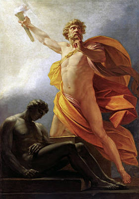 Prometheus Painting - Prometheus Brings Fire To Mankind by Heinrich Fuger
