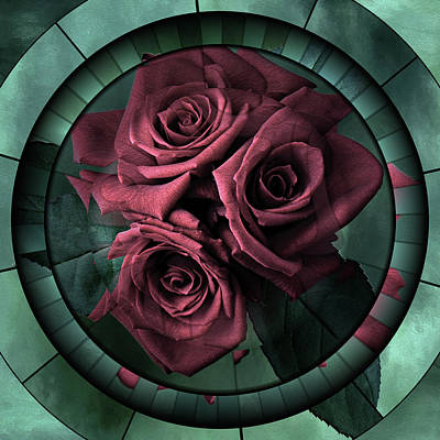 Mixed Media - Promises Kept Contemporary Grunge Art Roses by Georgiana Romanovna