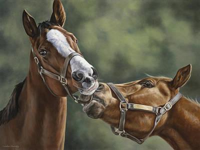 Thoroughbred Farm Painting - Promises Promises by Linda Shantz