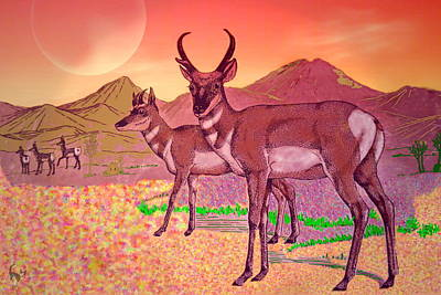 Digital Art - Prong Horns In The Moonlight by Joyce Dickens