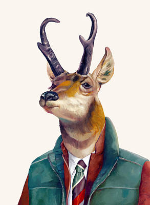 Animals Painting - pronghorn Deer by Animal Crew