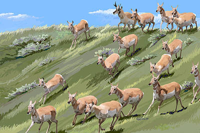 Wall Art - Painting - Pronghorn Promenade by Pam Little