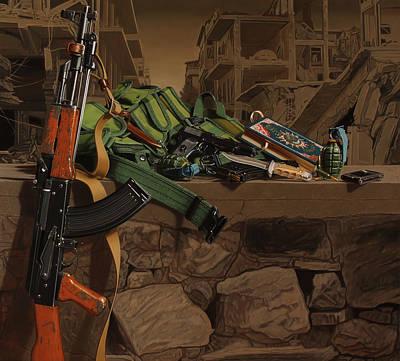 Ak-47 Painting - Pronk Still Life/ Hunting Still Life by Sierk Van Meeuwen