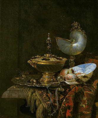 Table Painting - Pronk Still Life With Holbein Bowl, Nautilus Cup, Glass Goblet by Willem Kalf